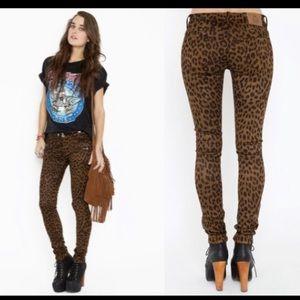 UNIF Brown/Black Leopard FauxSuede Skinny Pants 25